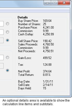 An optional expanded Details field shows all of the intermediate results and subtotals in the calculation.
